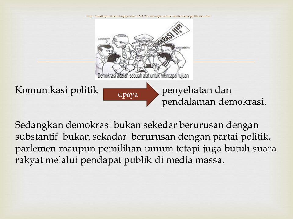  http://muslimpoliticians.blogspot.com/2012/02/hubungan-antara-media-massa-politik-dan.html Komunikasi politikpenyehatan dan pendalaman demokrasi. Se