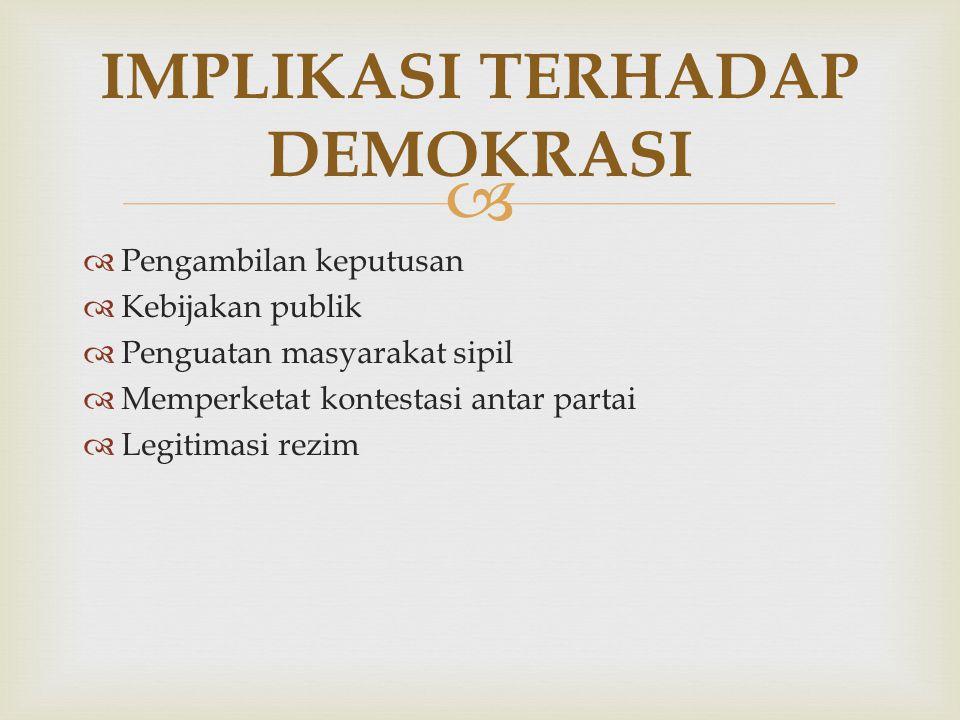  IMPLIKASI TERHADAP DEMOKRASI  Pengambilan keputusan  Kebijakan publik  Penguatan masyarakat sipil  Memperketat kontestasi antar partai  Legitim