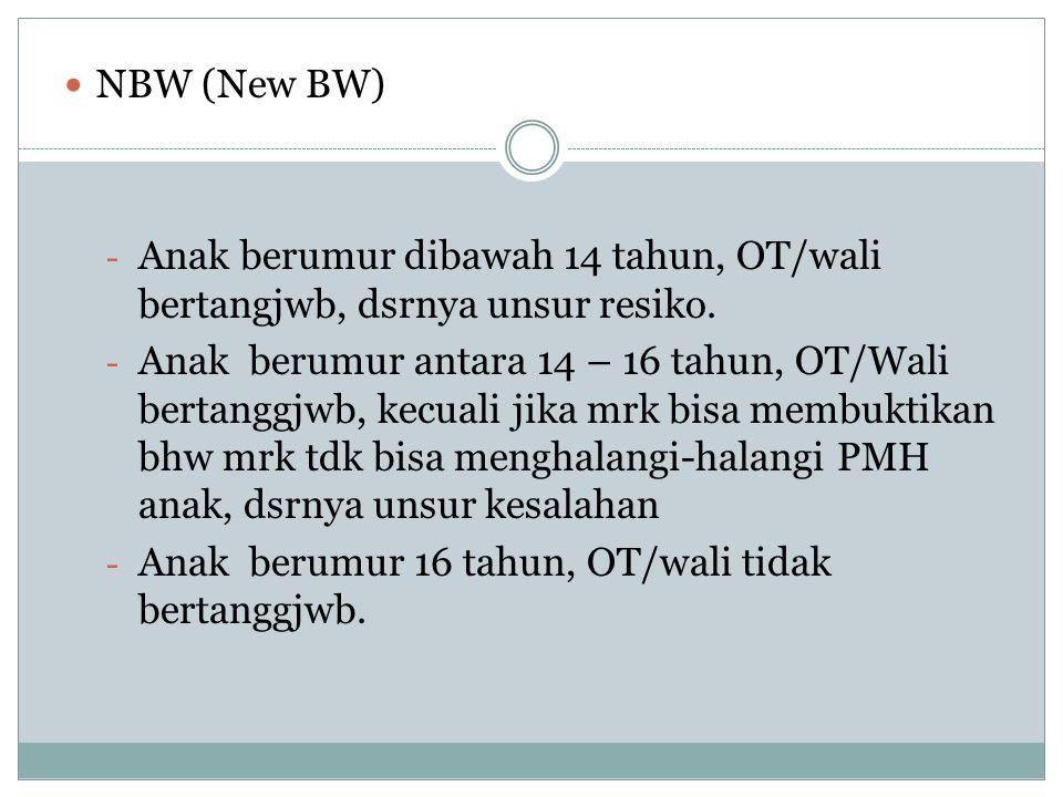 NBW (New BW) - Anak berumur dibawah 14 tahun, OT/wali bertangjwb, dsrnya unsur resiko. - Anak berumur antara 14 – 16 tahun, OT/Wali bertanggjwb, kecua