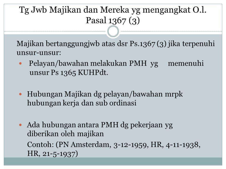 Tg Jwb Majikan dan Mereka yg mengangkat O.l. Pasal 1367 (3) Majikan bertanggungjwb atas dsr Ps.1367 (3) jika terpenuhi unsur-unsur: Pelayan/bawahan me