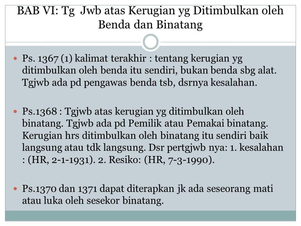 BAB VI: Tg Jwb atas Kerugian yg Ditimbulkan oleh Benda dan Binatang Ps. 1367 (1) kalimat terakhir : tentang kerugian yg ditimbulkan oleh benda itu sen