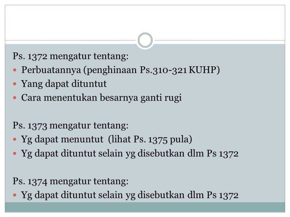 Ps. 1372 mengatur tentang: Perbuatannya (penghinaan Ps.310-321 KUHP) Yang dapat dituntut Cara menentukan besarnya ganti rugi Ps. 1373 mengatur tentang