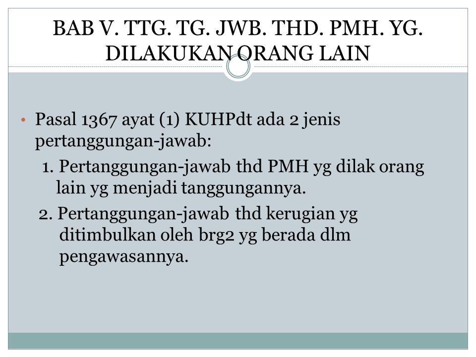 BAB V. TTG. TG. JWB. THD. PMH. YG. DILAKUKAN ORANG LAIN Pasal 1367 ayat (1) KUHPdt ada 2 jenis pertanggungan-jawab: 1. Pertanggungan-jawab thd PMH yg