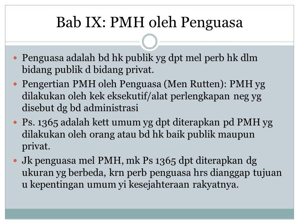 Bab IX: PMH oleh Penguasa Penguasa adalah bd hk publik yg dpt mel perb hk dlm bidang publik d bidang privat. Pengertian PMH oleh Penguasa (Men Rutten)