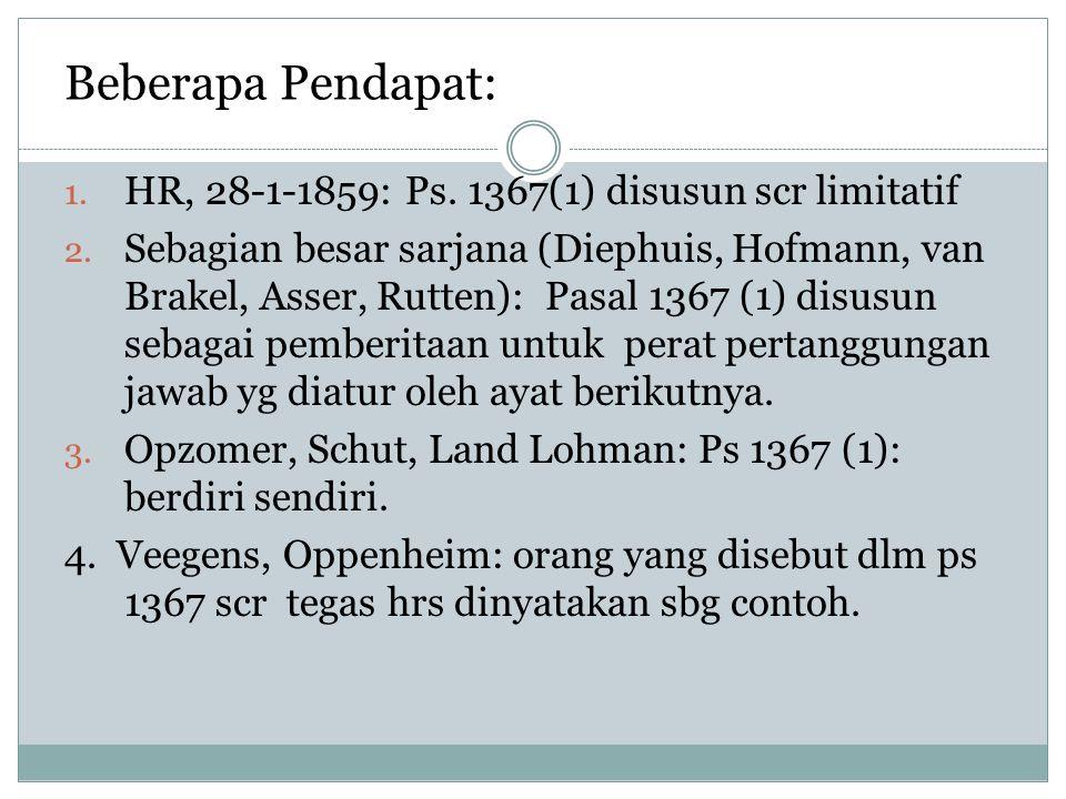 Beberapa Pendapat: 1. HR, 28-1-1859: Ps. 1367(1) disusun scr limitatif 2. Sebagian besar sarjana (Diephuis, Hofmann, van Brakel, Asser, Rutten): Pasal