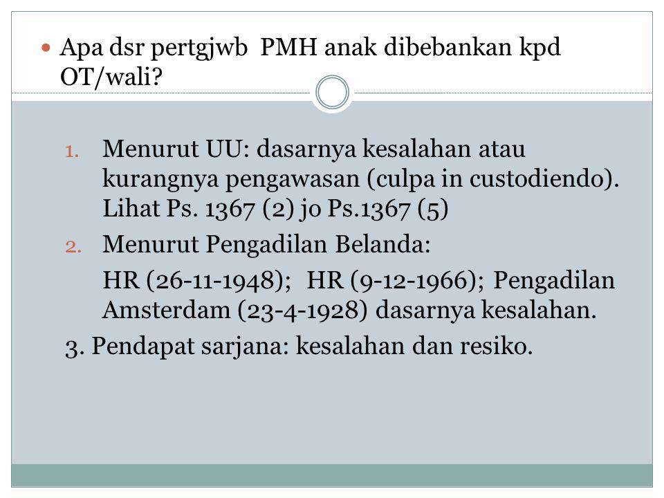 Apa dsr pertgjwb PMH anak dibebankan kpd OT/wali? 1. Menurut UU: dasarnya kesalahan atau kurangnya pengawasan (culpa in custodiendo). Lihat Ps. 1367 (