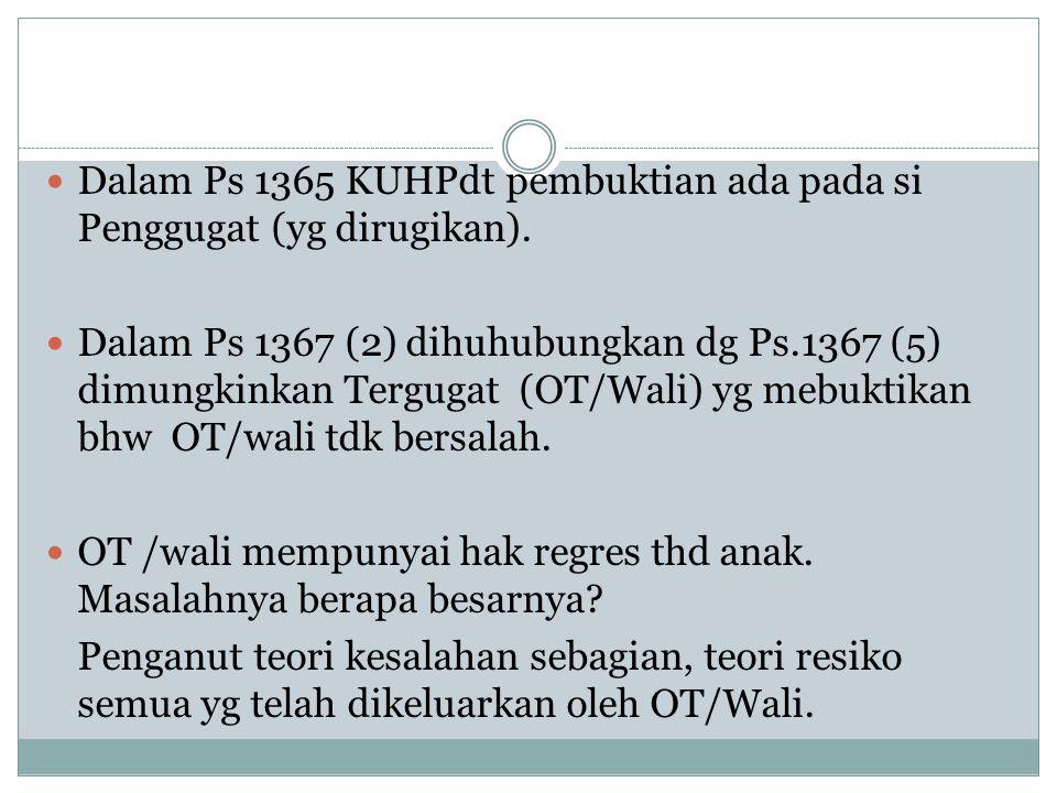 Dalam Ps 1365 KUHPdt pembuktian ada pada si Penggugat (yg dirugikan). Dalam Ps 1367 (2) dihuhubungkan dg Ps.1367 (5) dimungkinkan Tergugat (OT/Wali) y