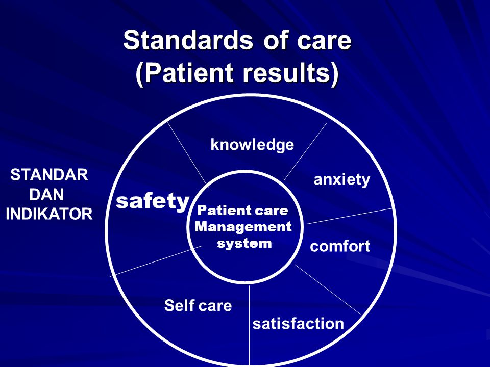 Standards of care (Patient results) satisfaction knowledge Patient care Management system anxiety Self care safety comfort STANDAR DAN INDIKATOR