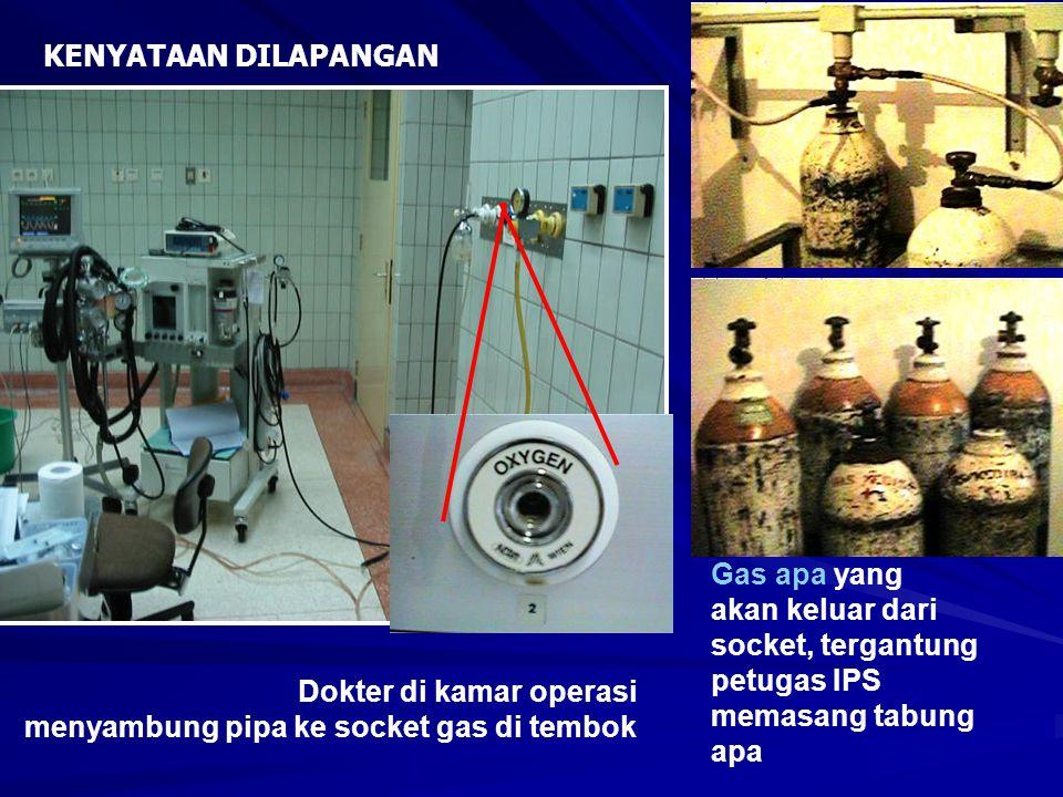 Dokter di kamar operasi menyambung pipa ke socket gas di tembok Gas apa yang akan keluar dari socket, tergantung petugas IPS memasang tabung apa KENYA