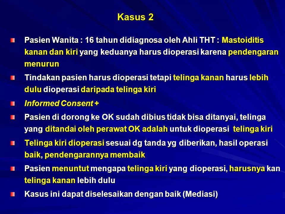 Kasus 3 Pasien laki-laki umur 30 tahun didiagnosa Conjunctivitis Vernalis oleh dokter Spesialis Mata dan sebelum dilakukan pengobatan dimintakan Informed Consent (lisan) Diberi resep obat kortikosteroid tetes mata untuk 3 hari Pasien tidak kontrol lagi selama 1 tahun Pada saat kontrol visus sangat menurun ada glaukoma Selain itu pasien berobat juga ke dokter-dokter Spesialis Mata di Tanjung Pinang, Batam, Jakarta Beli obat sendiri secara terus-menerus ke Apotik, oleh apotik diberi meskipun tanpa resep Pasien menuntut ganti-rugi kepada ketiga Dokter Spesialis Mata tersebut karena penglihatannya menurun.