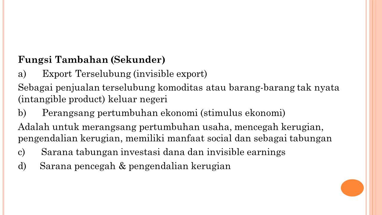 Fungsi Tambahan (Sekunder) a) Export Terselubung (invisible export) Sebagai penjualan terselubung komoditas atau barang-barang tak nyata (intangible p