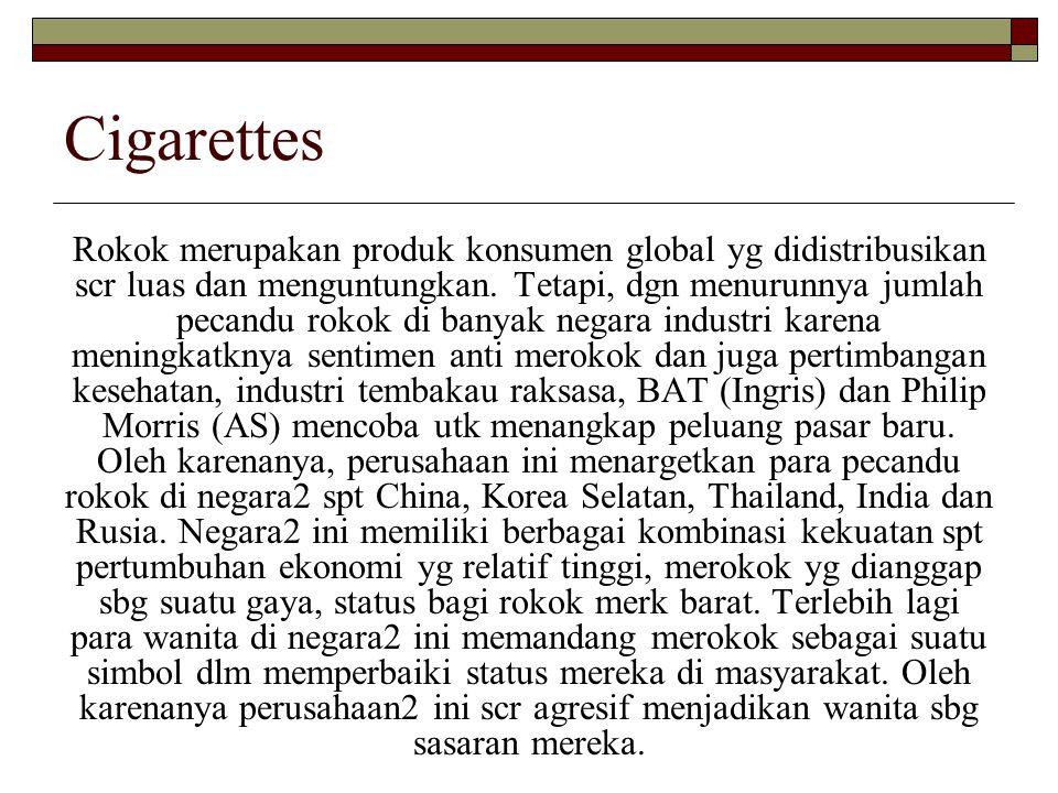 Cigarettes Rokok merupakan produk konsumen global yg didistribusikan scr luas dan menguntungkan. Tetapi, dgn menurunnya jumlah pecandu rokok di banyak