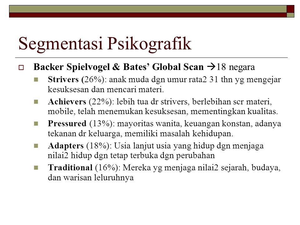 Segmentasi Psikografik  Backer Spielvogel & Bates' Global Scan  18 negara Strivers (26%): anak muda dgn umur rata2 31 thn yg mengejar kesuksesan dan