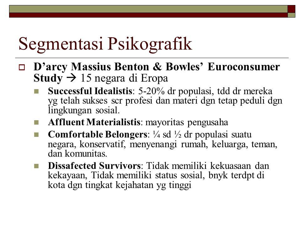 Segmentasi Psikografik  D'arcy Massius Benton & Bowles' Euroconsumer Study  15 negara di Eropa Successful Idealistis: 5-20% dr populasi, tdd dr mere