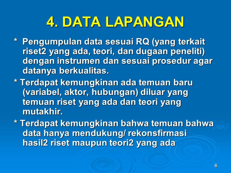 6 4. DATA LAPANGAN * Pengumpulan data sesuai RQ (yang terkait riset2 yang ada, teori, dan dugaan peneliti) dengan instrumen dan sesuai prosedur agar d