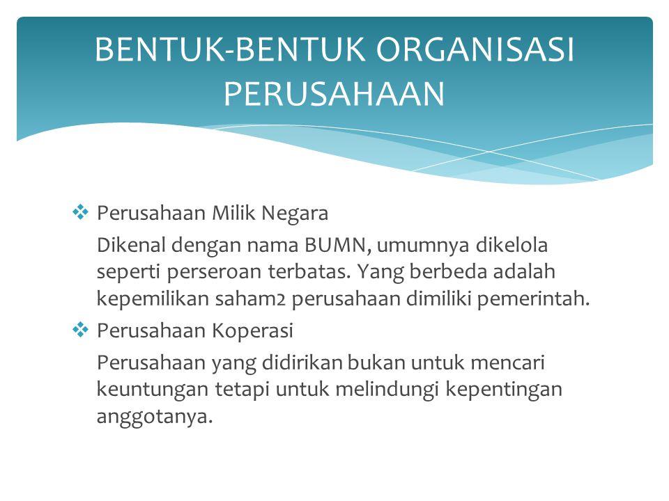  Perusahaan Milik Negara Dikenal dengan nama BUMN, umumnya dikelola seperti perseroan terbatas. Yang berbeda adalah kepemilikan saham2 perusahaan dim