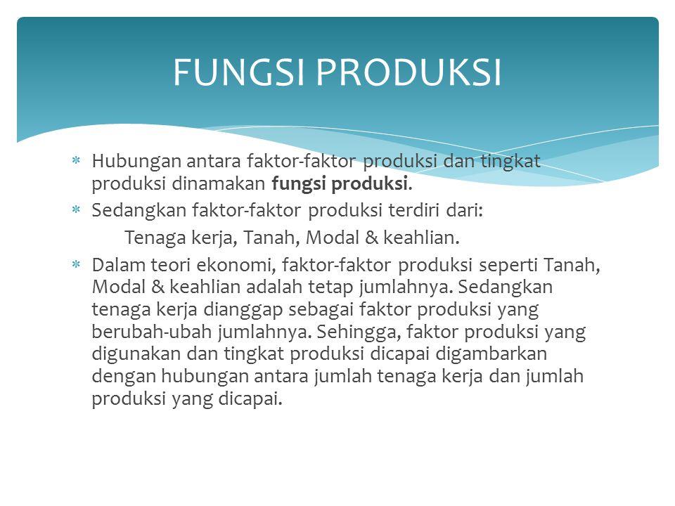  Hubungan antara faktor-faktor produksi dan tingkat produksi dinamakan fungsi produksi.  Sedangkan faktor-faktor produksi terdiri dari: Tenaga kerja
