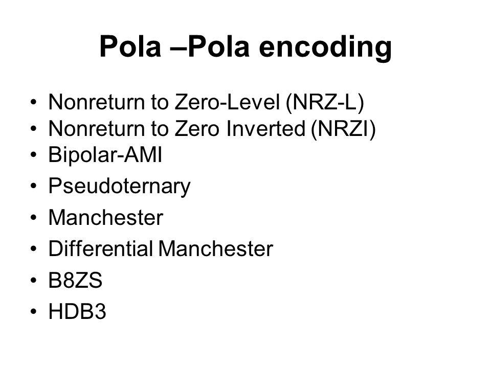 Pola –Pola encoding Nonreturn to Zero-Level (NRZ-L) Nonreturn to Zero Inverted (NRZI) Bipolar-AMI Pseudoternary Manchester Differential Manchester B8Z