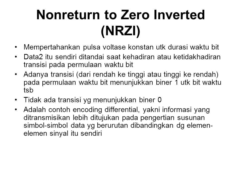 Nonreturn to Zero Inverted (NRZI) Mempertahankan pulsa voltase konstan utk durasi waktu bit Data2 itu sendiri ditandai saat kehadiran atau ketidakhadi