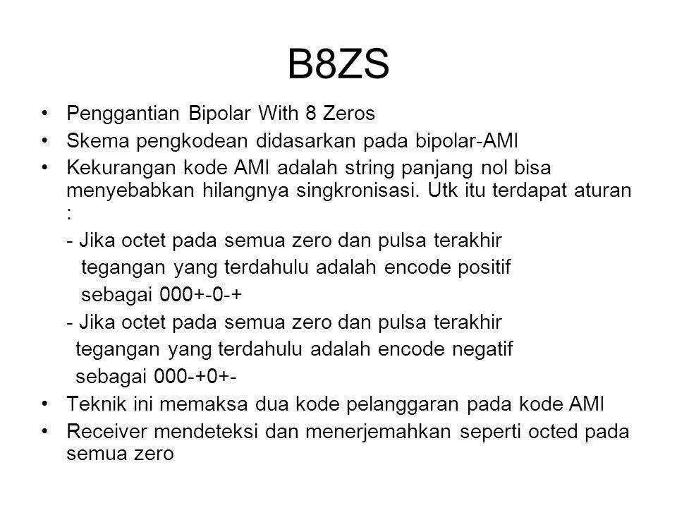B8ZS Penggantian Bipolar With 8 Zeros Skema pengkodean didasarkan pada bipolar-AMI Kekurangan kode AMI adalah string panjang nol bisa menyebabkan hila