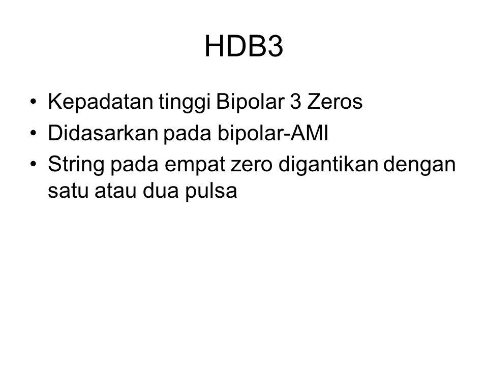 HDB3 Kepadatan tinggi Bipolar 3 Zeros Didasarkan pada bipolar-AMI String pada empat zero digantikan dengan satu atau dua pulsa