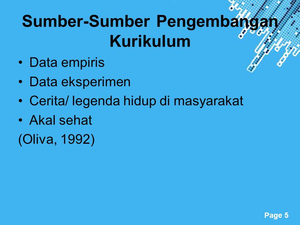 Powerpoint Templates Page 5 Sumber-Sumber Pengembangan Kurikulum Data empiris Data eksperimen Cerita/ legenda hidup di masyarakat Akal sehat (Oliva, 1