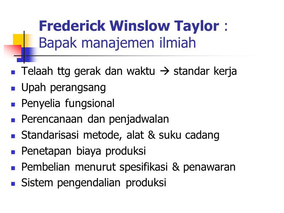 Frederick Winslow Taylor : Bapak manajemen ilmiah Telaah ttg gerak dan waktu  standar kerja Upah perangsang Penyelia fungsional Perencanaan dan penja