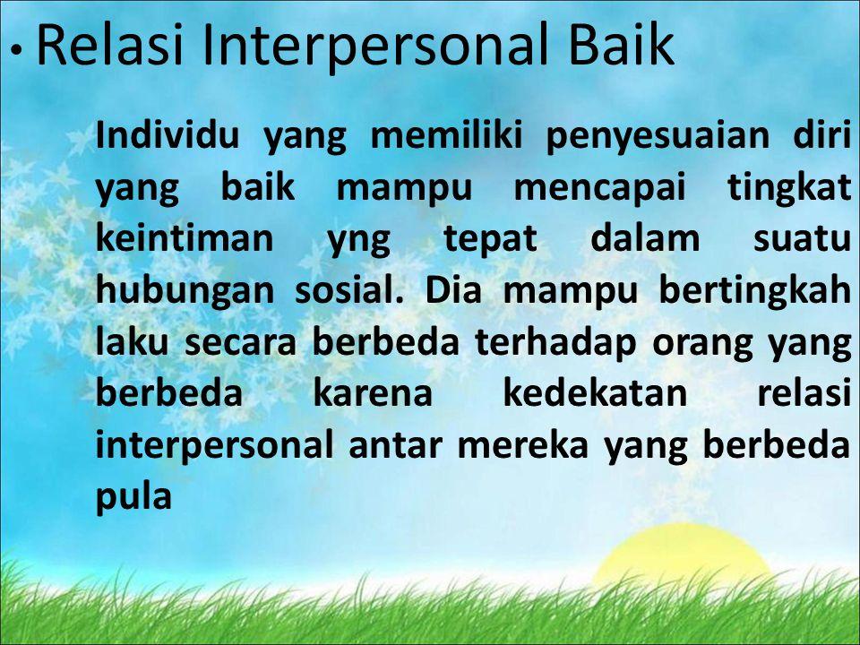 Relasi Interpersonal Baik Individu yang memiliki penyesuaian diri yang baik mampu mencapai tingkat keintiman yng tepat dalam suatu hubungan sosial.