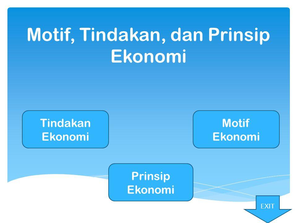 Motif, Tindakan, dan Prinsip Ekonomi Motif Ekonomi Prinsip Ekonomi Tindakan Ekonomi EXIT