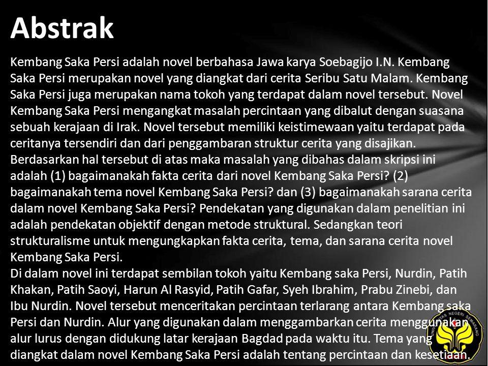 Abstrak Kembang Saka Persi adalah novel berbahasa Jawa karya Soebagijo I.N.
