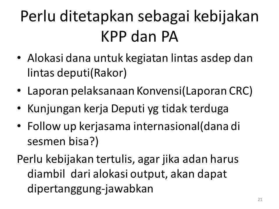 Perlu ditetapkan sebagai kebijakan KPP dan PA Alokasi dana untuk kegiatan lintas asdep dan lintas deputi(Rakor) Laporan pelaksanaan Konvensi(Laporan C