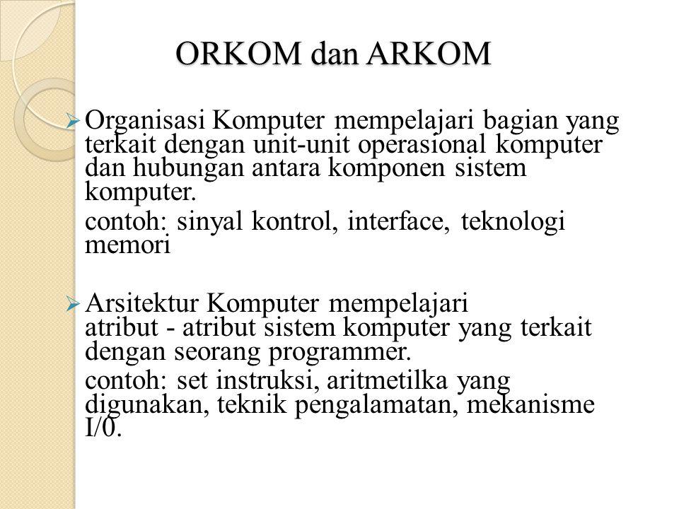 ORKOM dan ARKOM  Organisasi Komputer mempelajari bagian yang terkait dengan unit ‑ unit operasional komputer dan hubungan antara komponen sistem komputer.