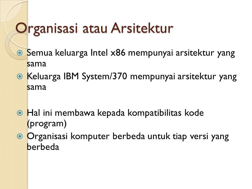 Organisasi atau Arsitektur  Semua keluarga Intel x86 mempunyai arsitektur yang sama  Keluarga IBM System/370 mempunyai arsitektur yang sama  Hal ini membawa kepada kompatibilitas kode (program)  Organisasi komputer berbeda untuk tiap versi yang berbeda