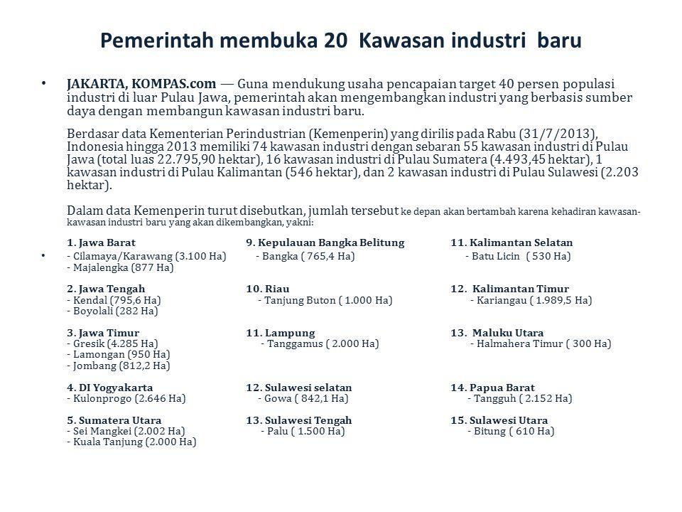 Pemerintah membuka 20 Kawasan industri baru JAKARTA, KOMPAS.com — Guna mendukung usaha pencapaian target 40 persen populasi industri di luar Pulau Jaw