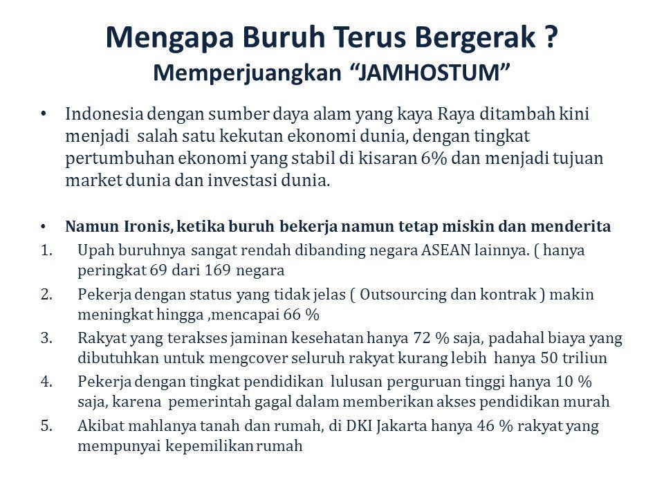 "Mengapa Buruh Terus Bergerak ? Memperjuangkan ""JAMHOSTUM"" Indonesia dengan sumber daya alam yang kaya Raya ditambah kini menjadi salah satu kekutan ek"