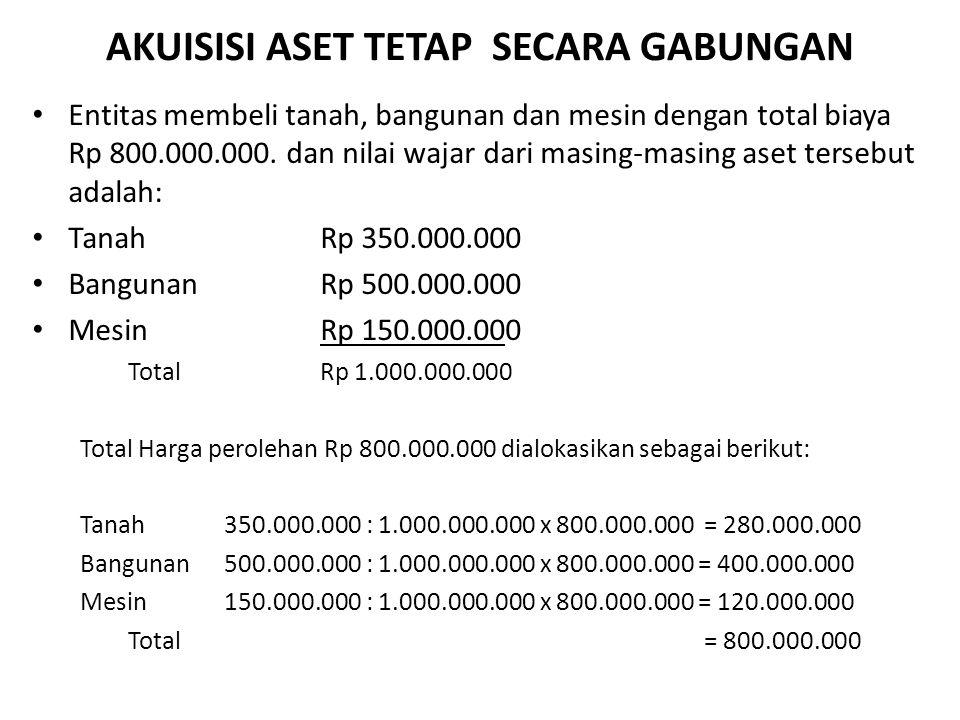 AKUISISI ASET TETAP SECARA GABUNGAN Entitas membeli tanah, bangunan dan mesin dengan total biaya Rp 800.000.000. dan nilai wajar dari masing-masing as