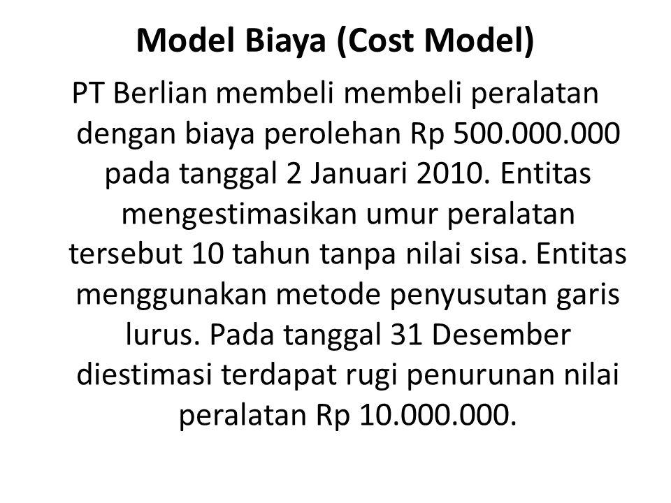 Model Biaya (Cost Model) PT Berlian membeli membeli peralatan dengan biaya perolehan Rp 500.000.000 pada tanggal 2 Januari 2010. Entitas mengestimasik