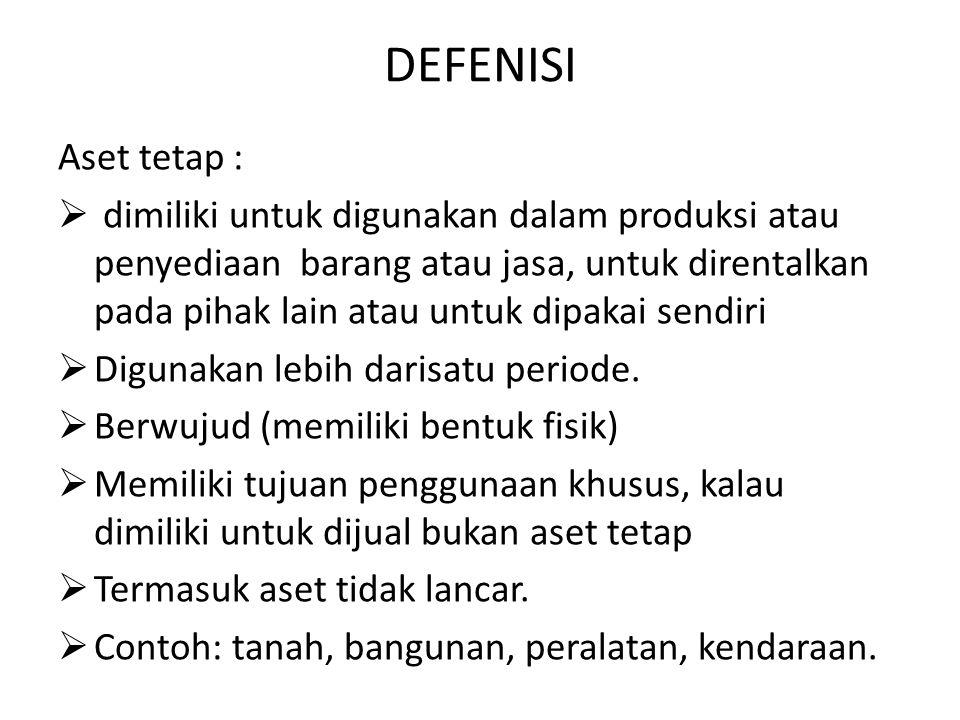 DEFENISI Aset tetap :  dimiliki untuk digunakan dalam produksi atau penyediaan barang atau jasa, untuk direntalkan pada pihak lain atau untuk dipakai