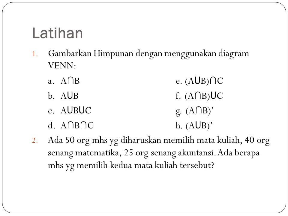 Latihan 1. Gambarkan Himpunan dengan menggunakan diagram VENN: a.A ∩ Be. (A U B) ∩ C b. A U Bf..(A ∩ B) U C c. A U B U Cg..(A ∩ B)' d. A ∩ B ∩ Ch. (A