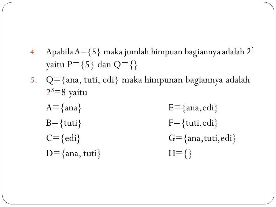 4. Apabila A={5} maka jumlah himpuan bagiannya adalah 2 1 yaitu P={5} dan Q={} 5. Q={ana, tuti, edi} maka himpunan bagiannya adalah 2 3 =8 yaitu A={an