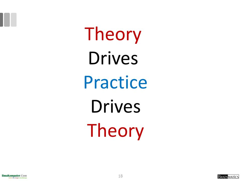 Theory Drives Practice Drives Theory 18