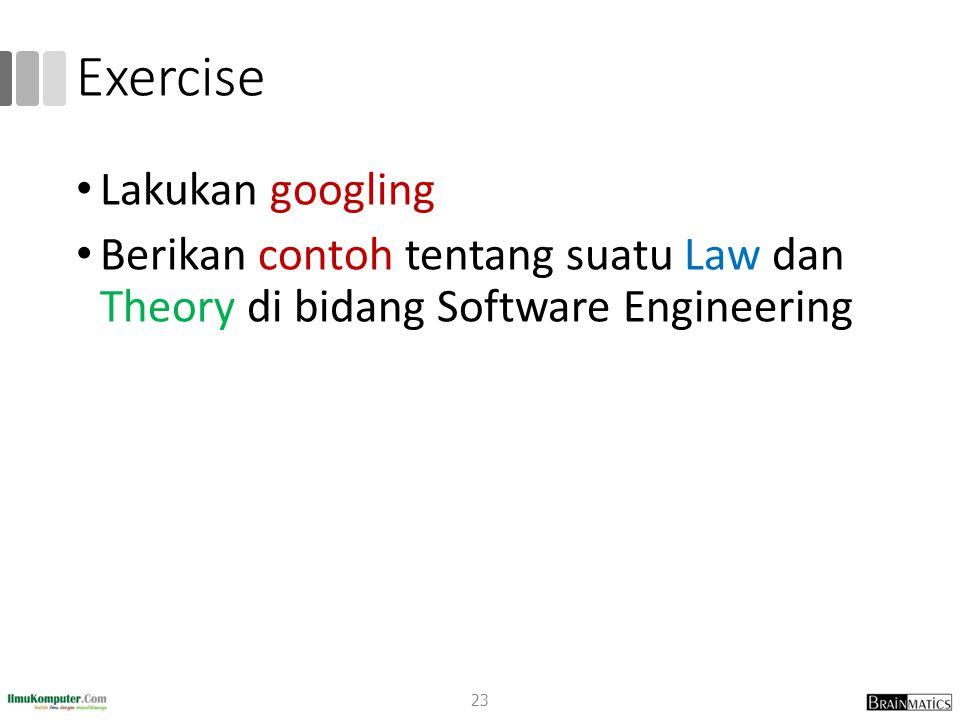 Exercise Lakukan googling Berikan contoh tentang suatu Law dan Theory di bidang Software Engineering 23