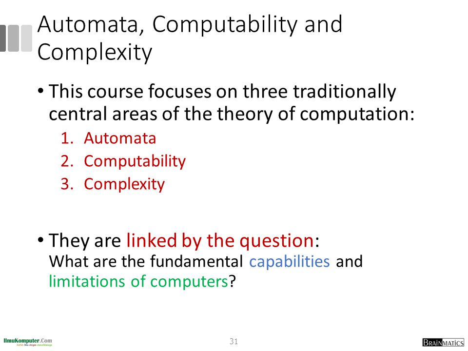 Automata, Computability and Complexity This course focuses on three traditionally central areas of the theory of computation: 1.Automata 2.Computability 3.Complexity They are linked by the question: What are the fundamental capabilities and limitations of computers.