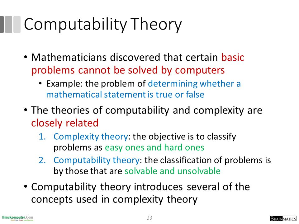Computability Theory Mathematicians discovered that certain basic problems cannot be solved by computers Example: the problem of determining whether a mathematical statement is true or false The theories of computability and complexity are closely related 1.Complexity theory: the objective is to classify problems as easy ones and hard ones 2.Computability theory: the classification of problems is by those that are solvable and unsolvable Computability theory introduces several of the concepts used in complexity theory 33