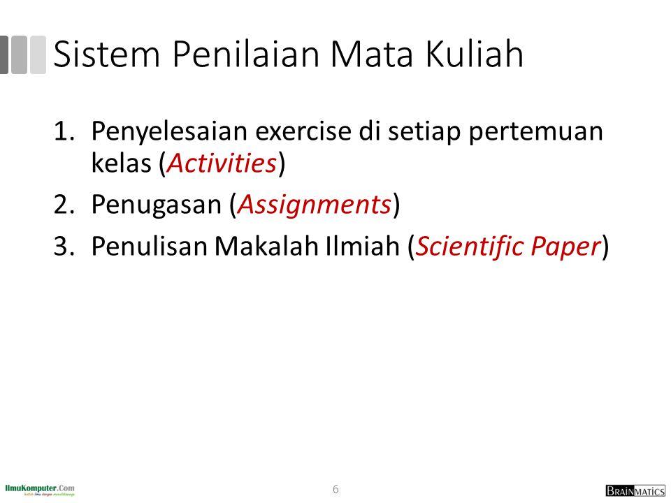 Sistem Penilaian Mata Kuliah 1.Penyelesaian exercise di setiap pertemuan kelas (Activities) 2.Penugasan (Assignments) 3.Penulisan Makalah Ilmiah (Scie