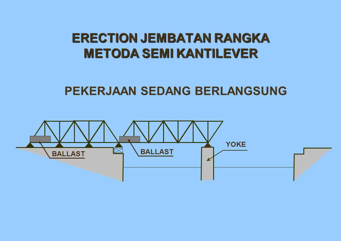 ERECTION JEMBATAN RANGKA METODA SEMI KANTILEVER PEKERJAAN SEDANG BERLANGSUNG YOKE BALLAST