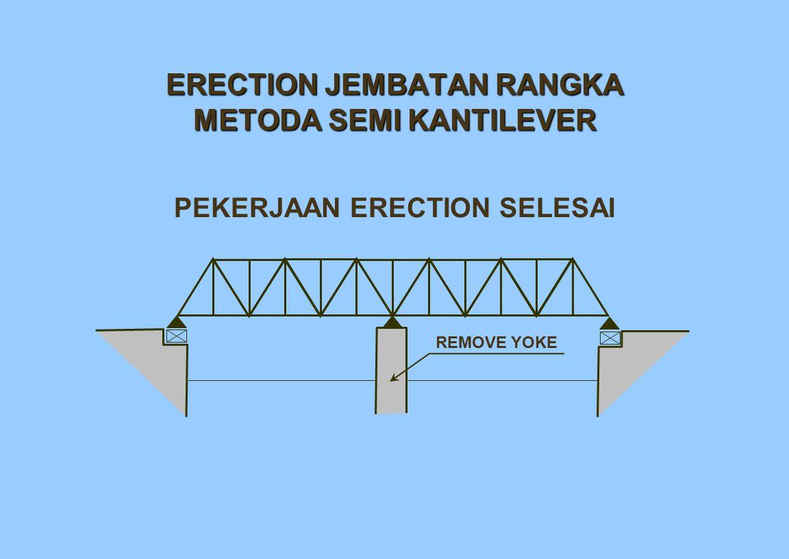 ERECTION JEMBATAN RANGKA METODA SEMI KANTILEVER PEKERJAAN ERECTION SELESAI REMOVE YOKE