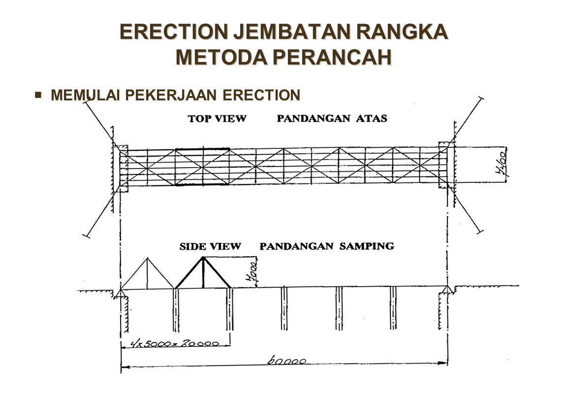 ERECTION JEMBATAN RANGKA METODA PERANCAH  MEMULAI PEKERJAAN ERECTION