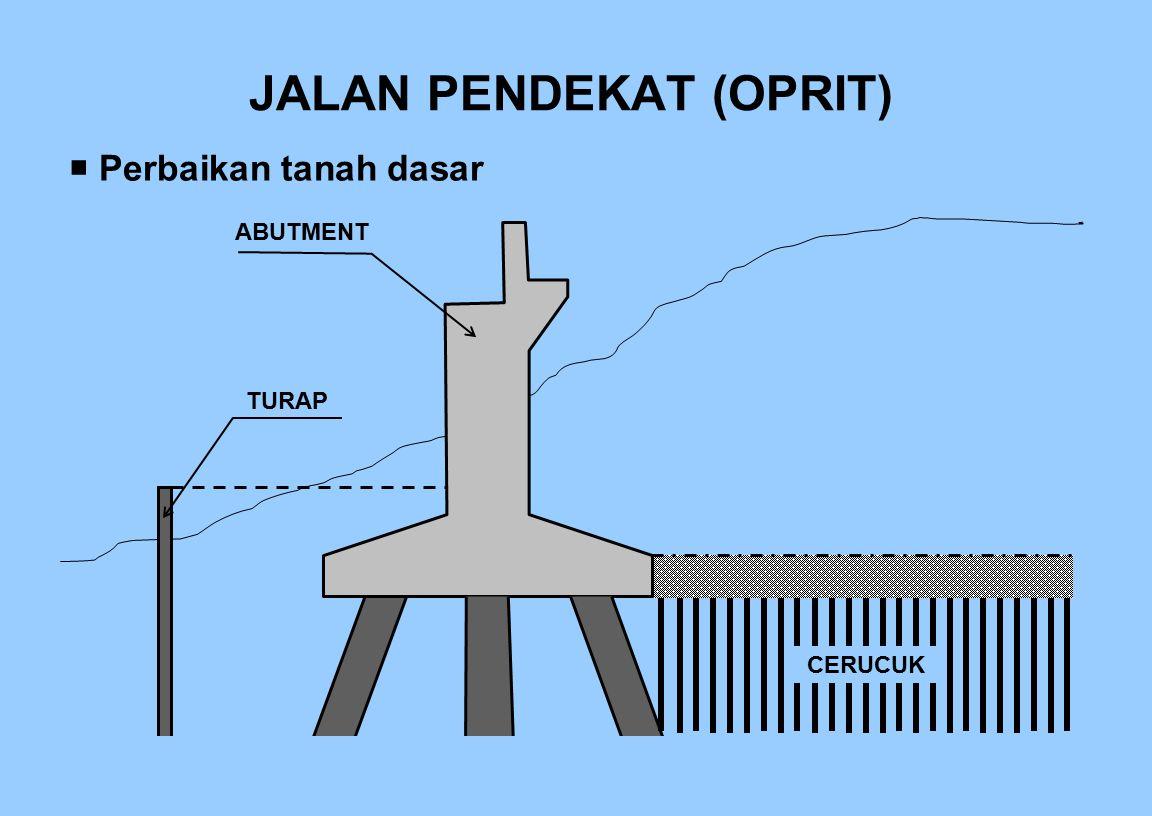 JALAN PENDEKAT (OPRIT)  Perbaikan tanah dasar TURAP ABUTMENT CERUCUK