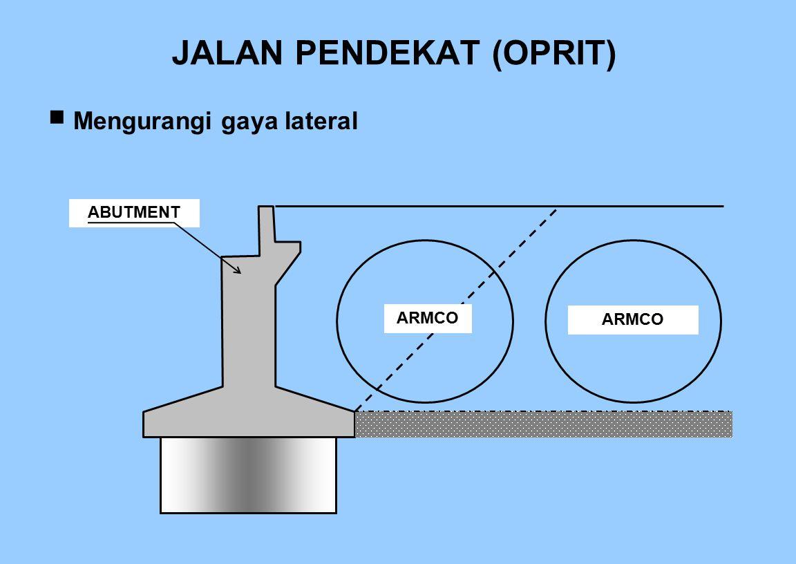 JALAN PENDEKAT (OPRIT)  Mengurangi gaya lateral ABUTMENT ARMCO